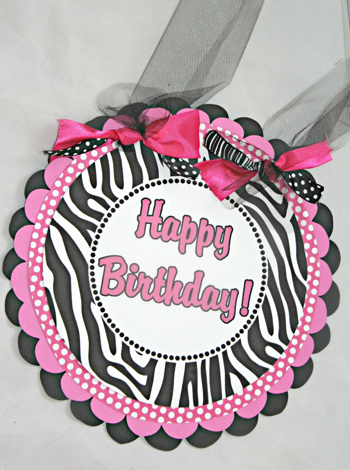 Hello Kitty Hot Pink Zebra Polka Dot Birthday Door By