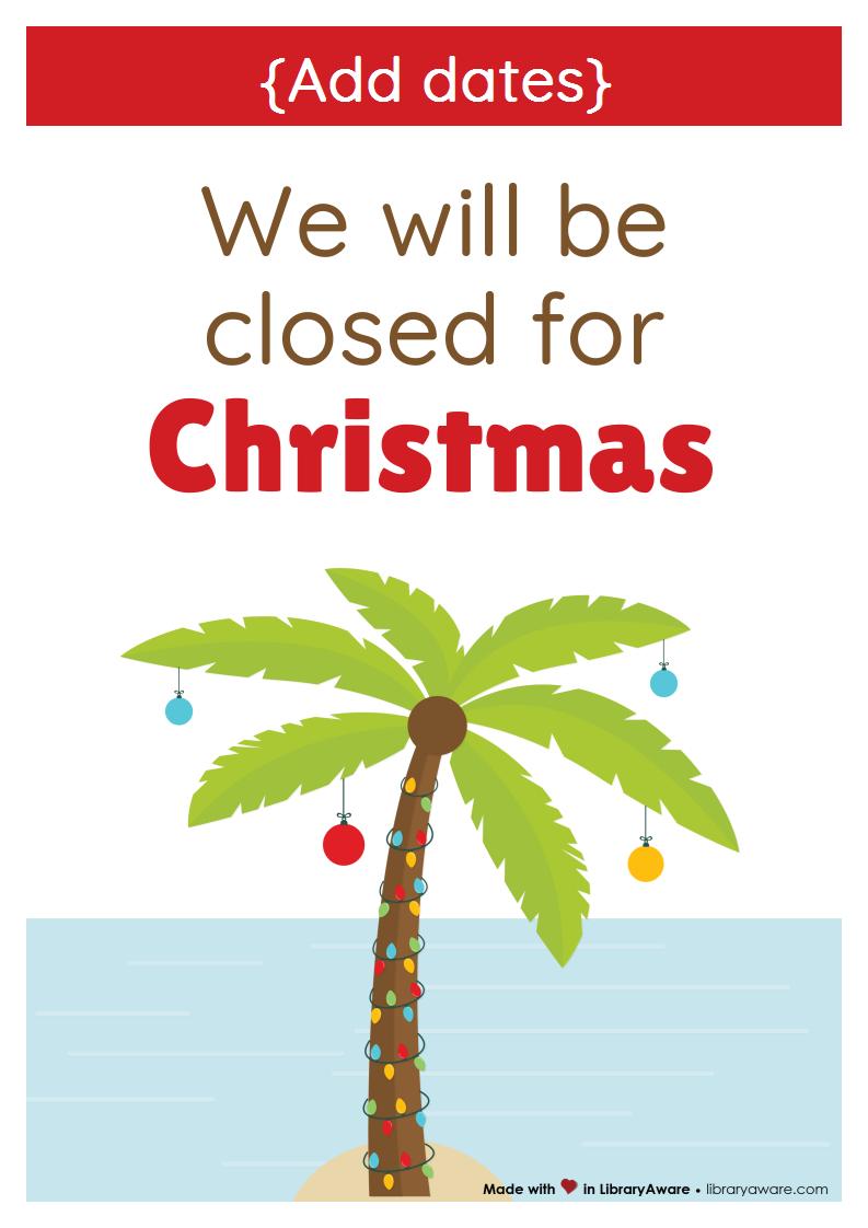 closing sign a4 christmas 3 australia new zealand library
