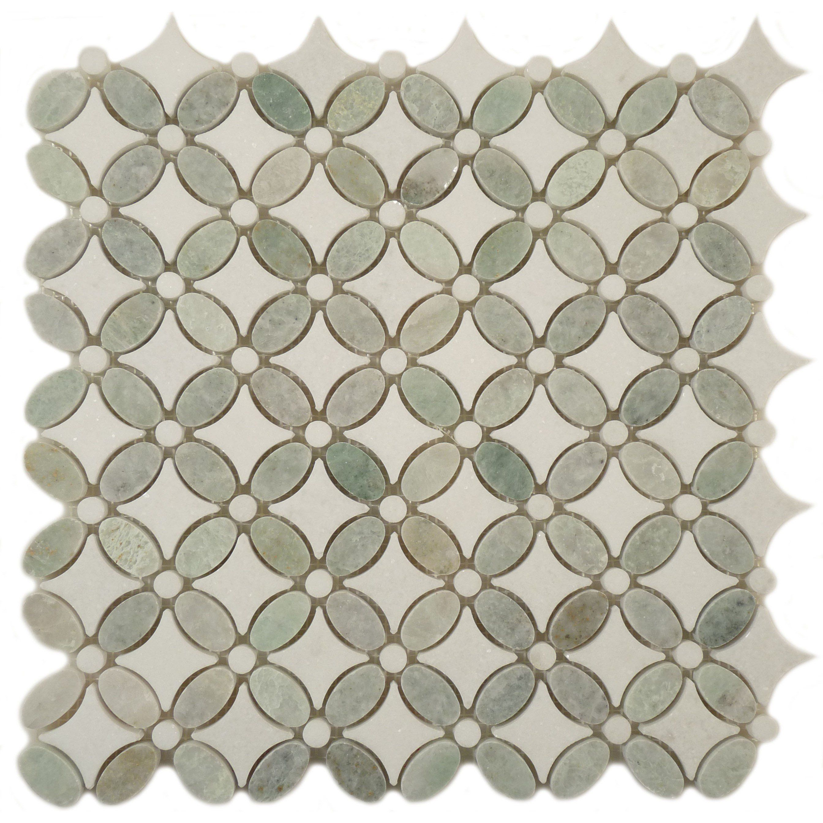 Sheet Size 13 X Tile Shape Flower Tiles Per 192 Thickness Grout Joints Mount Mesh Backed Stone Have Natural Variations