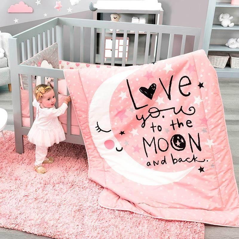 Baby Moon Crib Bedding Set Crib Bedding Girl Pink Baby Room Baby Girl Crib Bedding