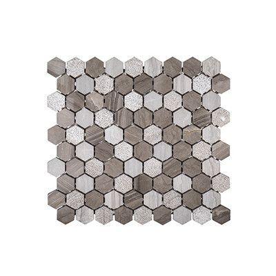 "Kellani Misty Harbor 11.5"" x 12"" Patchwork Mosaic Tile in Gray"