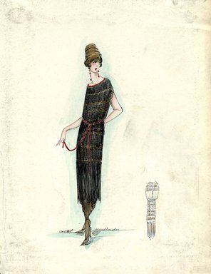 """Dress, Callot Soeurs, Spring 1919.  Black mid-calf length dress composed of rows of fringe with brown ankle length underskirt; bateau neck trimmed in red, off-the-shoulder short sleeves; narrow red sash; brown turban. (Bendel Collection, HB 032-62)"", 1919. Fashion sketch. Brooklyn Museum, Fashion sketches. (Photo: Brooklyn Museum, SC01.1_Bendel_Collection_HB_032-062_1919_Callot_SL5.jpg)"
