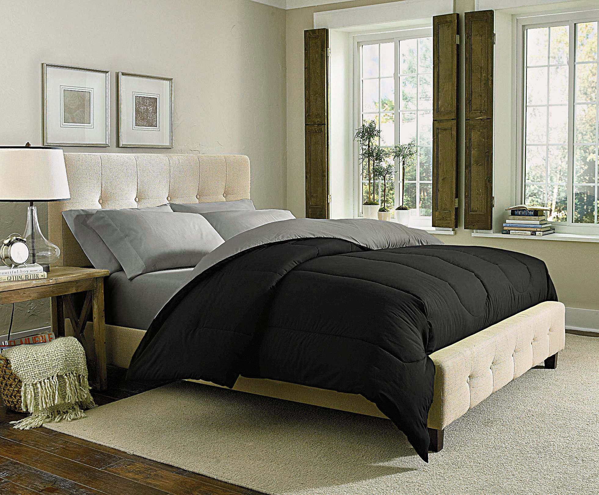 Cannon Solid Reversible Comforter Black Silver