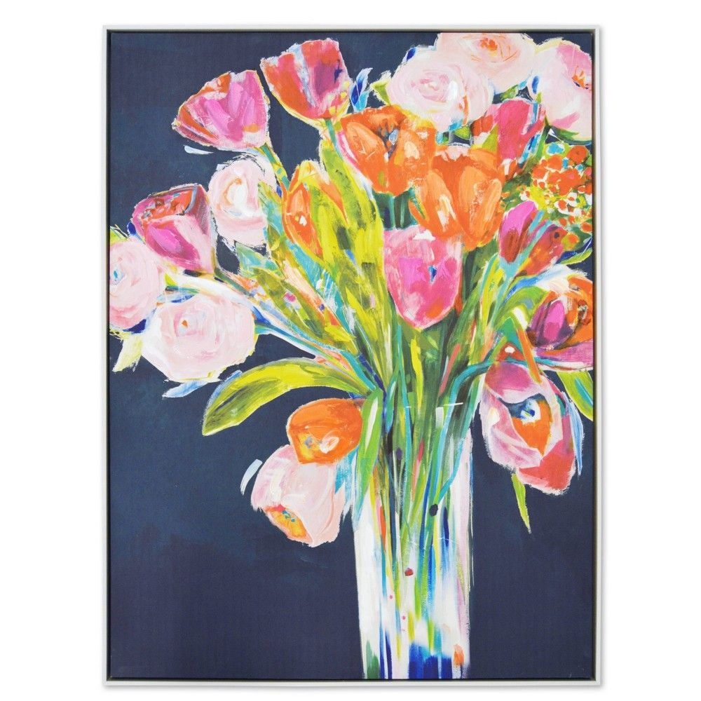 Sparkle Bright Floral Painting Pink Abstract Art Wall Etsy Contemporary Art Canvas Pink Abstract Art Floral Painting