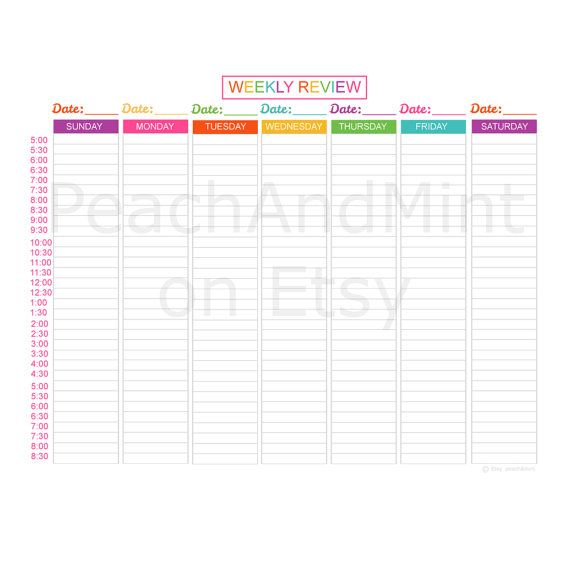 Printable Weekly Planner Agenda - 2017 Weekly Planner Pages