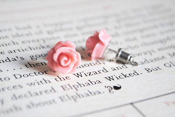 Pink Rose Earrings Nickel Free Studs  Vintage by onetenzeroseven, £3.75