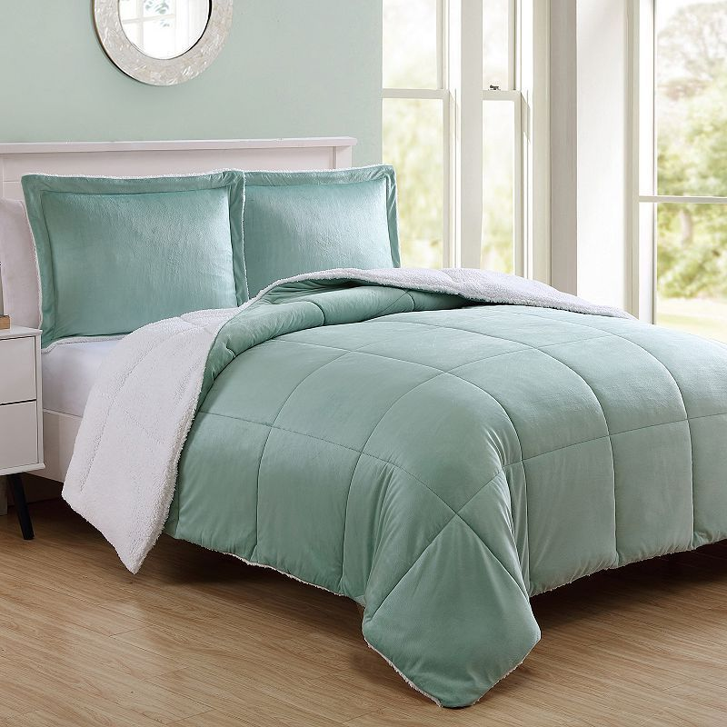 Vcny Micromink Sherpa Reversible Comforter Set Turquoise Blue Turq Aqua Comforter Sets Comforters Vcny