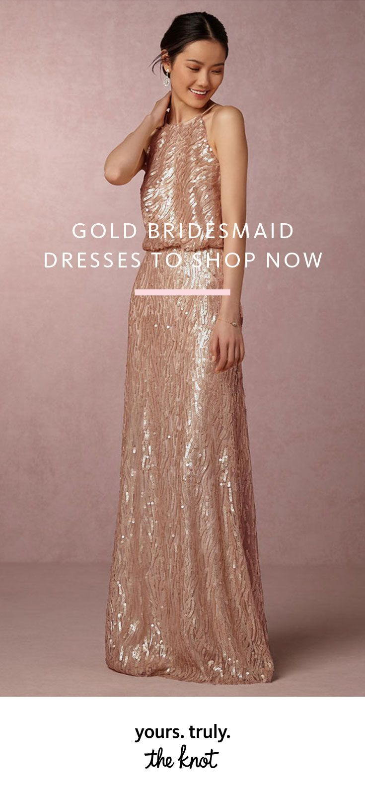 Long and short gold metallic bridesmaid dresses to shop now