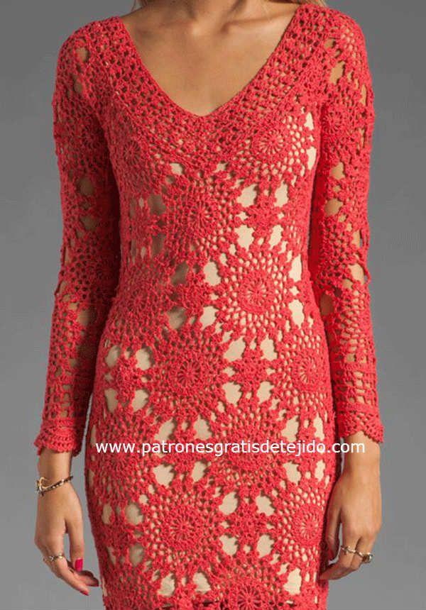 motivo de encaje crochet para vestido largo de dama | blusas y ...