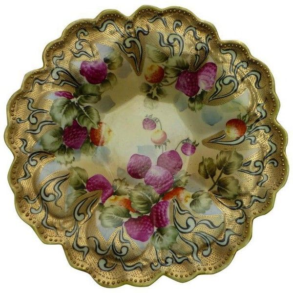 Antique Decorative Bowls Nippon Japanese Antique Hand Painted Gold Leaf Fruit Bowl $199