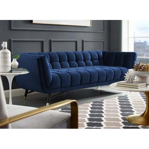 Mid Century Deep Tufted Blue Velvet Sofa