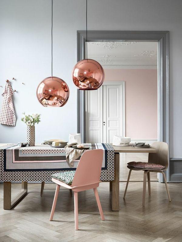 esszimmer design mobiliar milde farben Esszimmer - Esstisch mit - wohnzimmer deko rosa