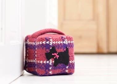 Knitted tartan doorstop