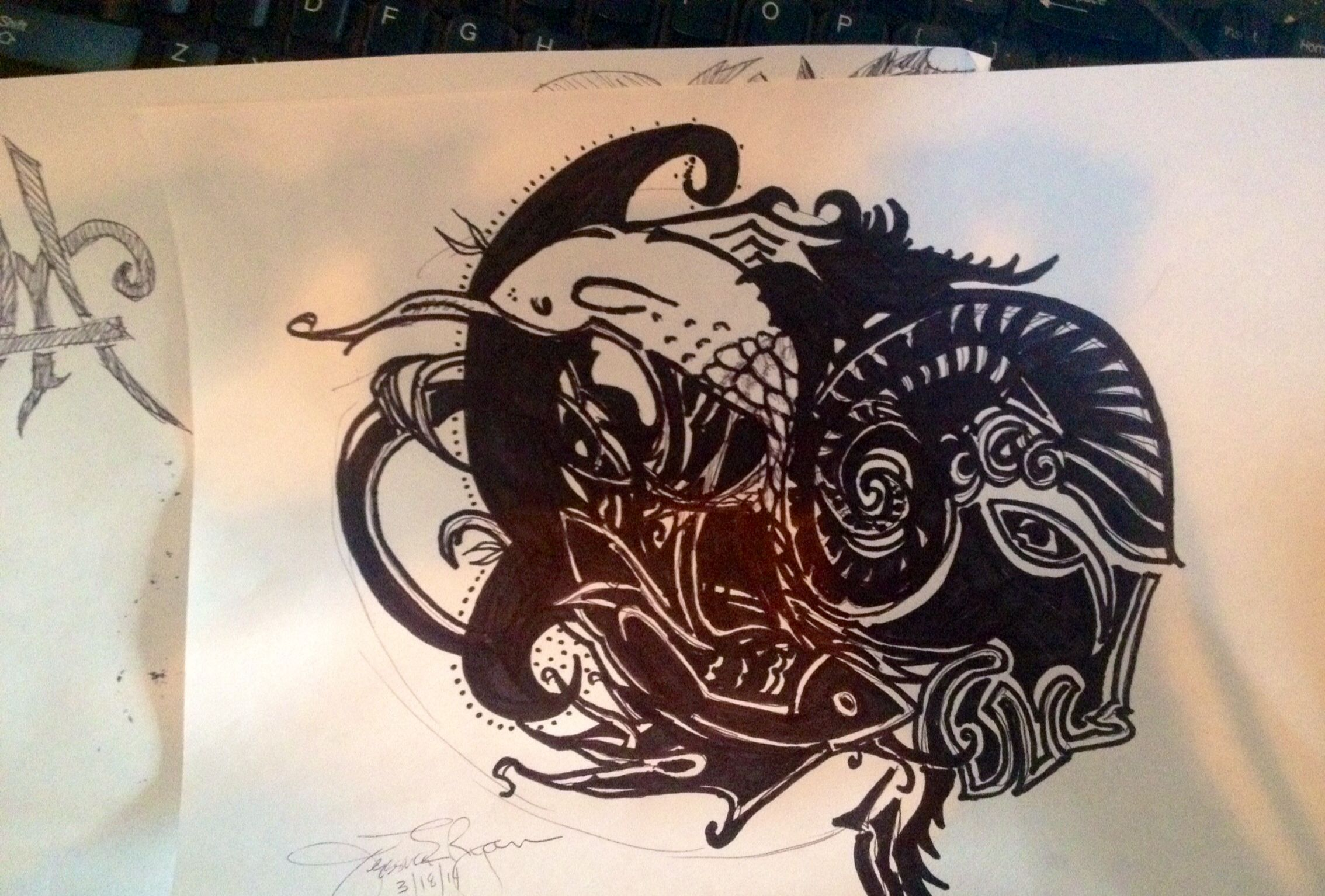 Messing around with ink for ink  My version of the Pisces