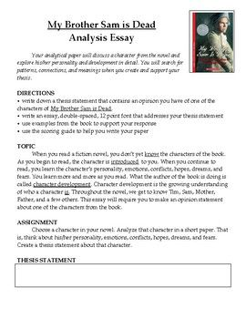My Brother Sam is Dead Novel Analysis Essay | for the classroom