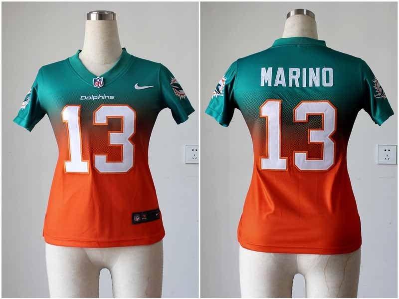 womens nike nfl miami dolphins 13 dan marino elite aqua green orange fadeaway stitched jersey