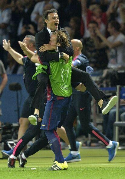 Head Coach Luis Enrique jumps for joy   2015 Champions League Final, Berlin, 6 June 2015: Juventus 1 - FC Barcelona 3