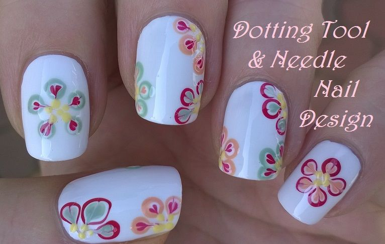 Floral #nails - Dotting tool & #needle #nailart / For more easy ...