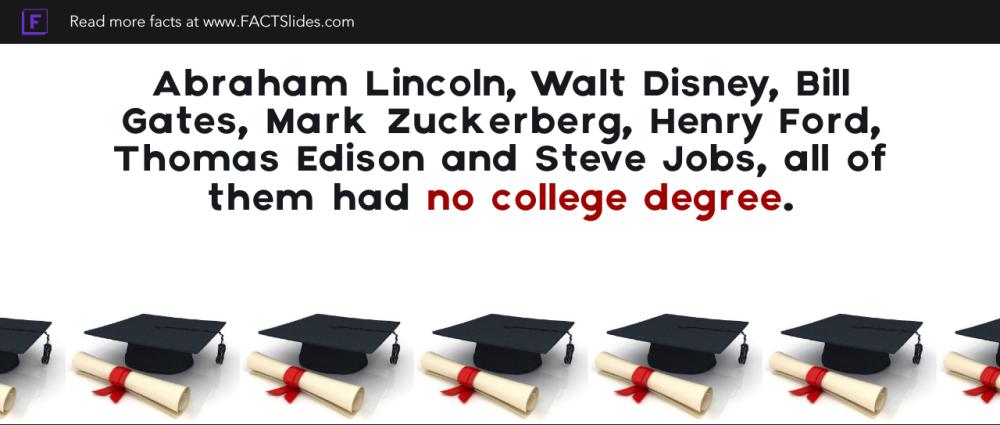 Abraham Lincoln Walt Disney Bill Gates Mark Zuckerberg Henry Ford Thomas Edison And Steve Jobs All Of Them H College Degree Mark Zuckerberg Thomas Edison
