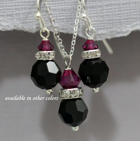 Black and Hot Pink Jewelry Set, Swarovski Black and Fuschia Crystal Bridesmaid Jewelry Set, Fuschia and Black Bridesmaid Jewelry