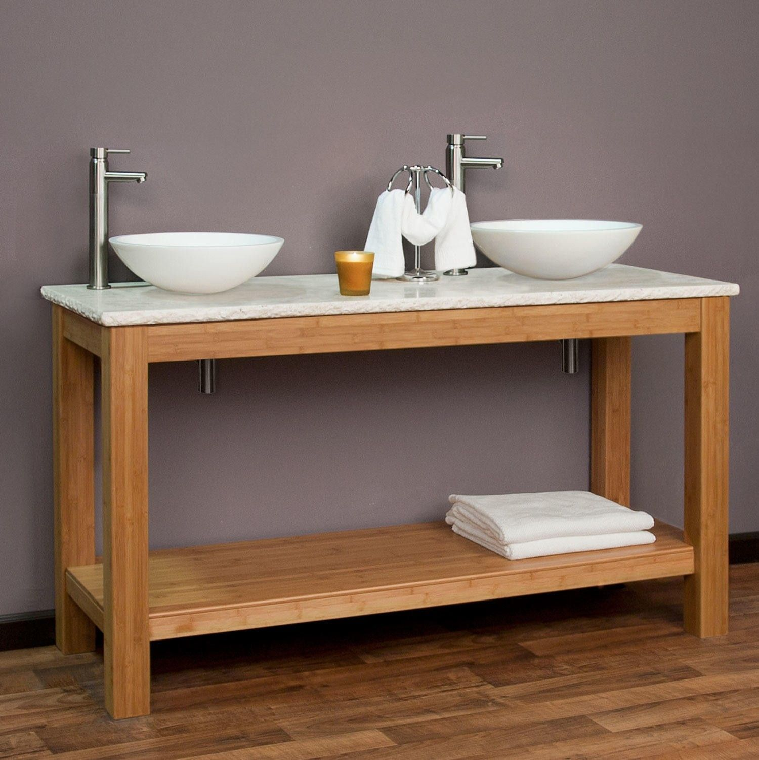 60 michele bamboo double vessel sink console vanity for Master bathroom double vanity