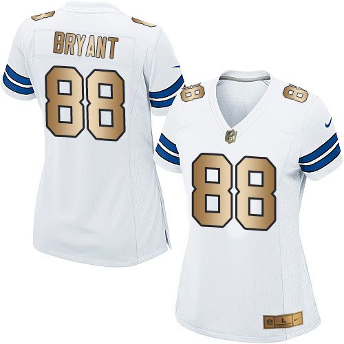 Nike Dallas Cowboys Women's #88 Dez Bryant Elite White/Gold Road NFL Jersey