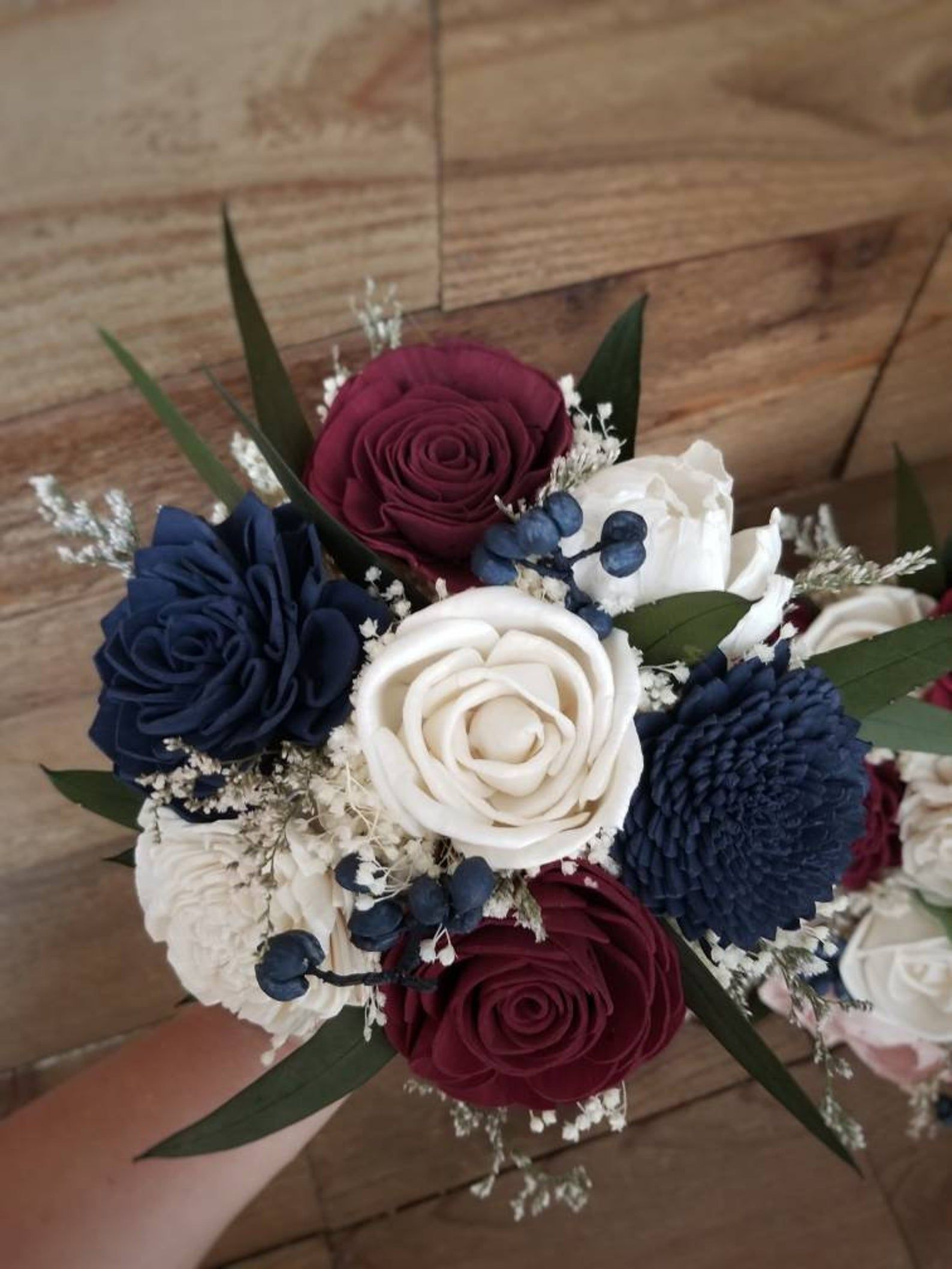 Bouquet Cascade Burgundy Wine Navy Sola Wood and Dried