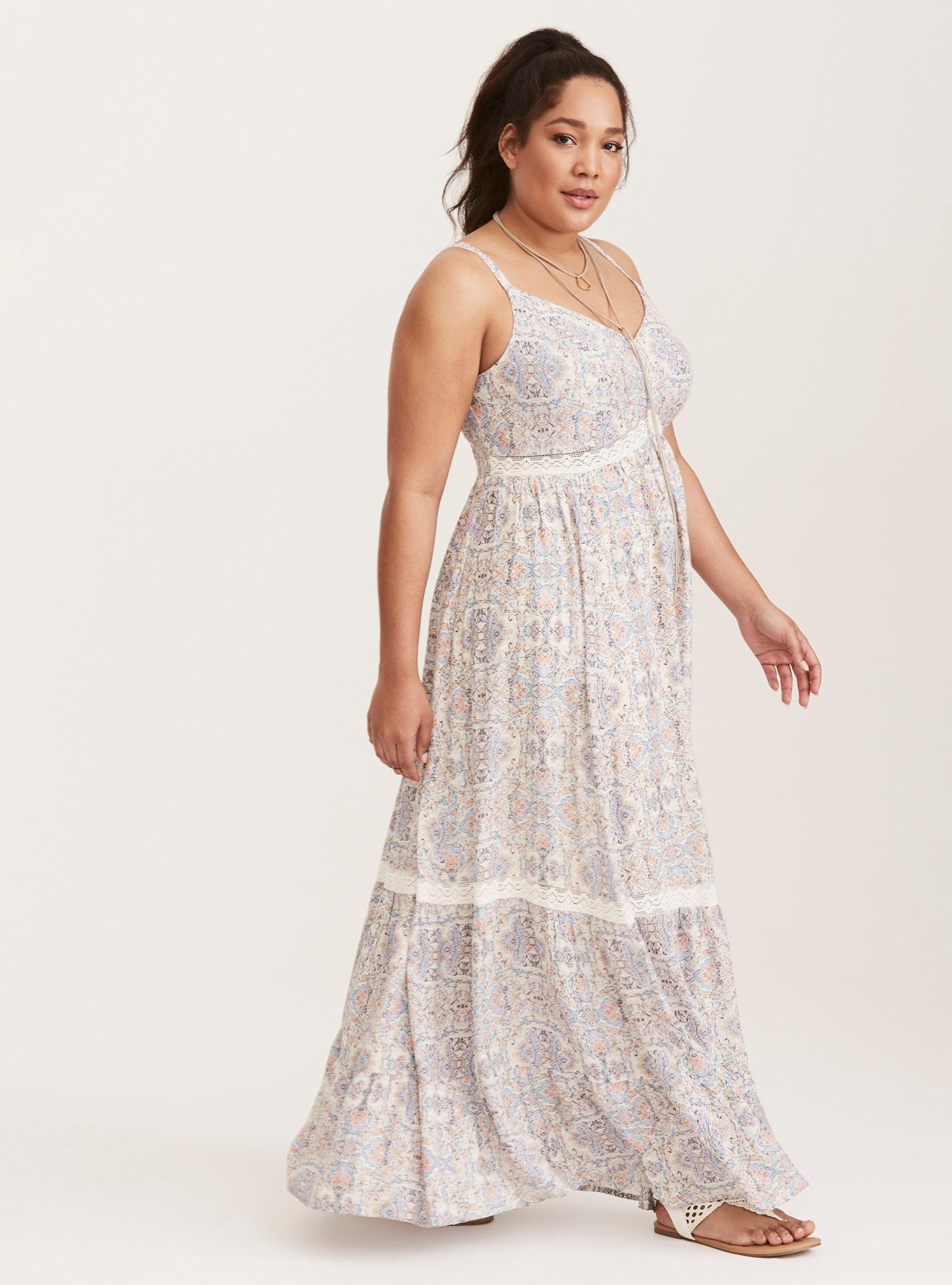 Tile Print Lace Inset Tiered Challis Maxi Dress in Karma Tile ...