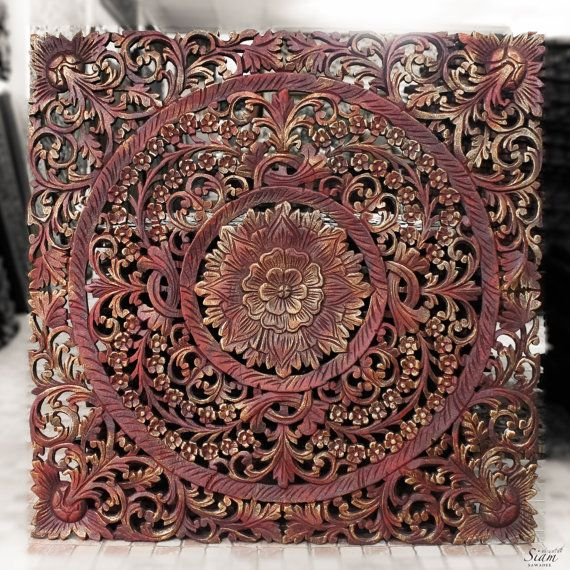 Wood carved wall art panel wall hanging colourful lotus wooden wall decor from thailand