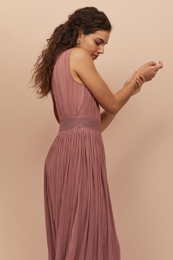 Langes plissiertes Kleid - Altrosa - Ladies | H&M DE 3 in ...
