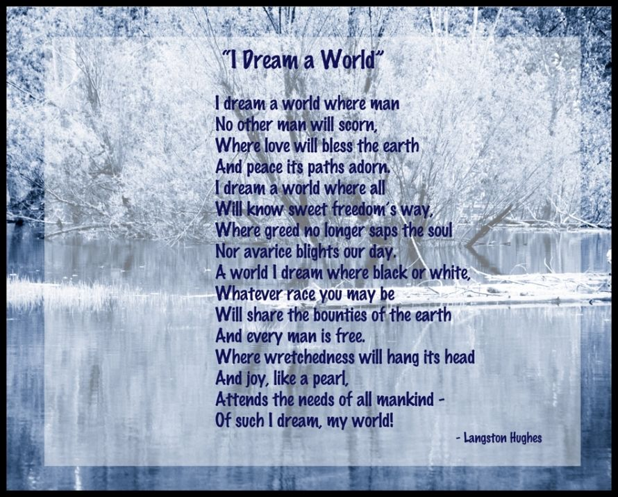 A critique of langston hughes poem i dream a world
