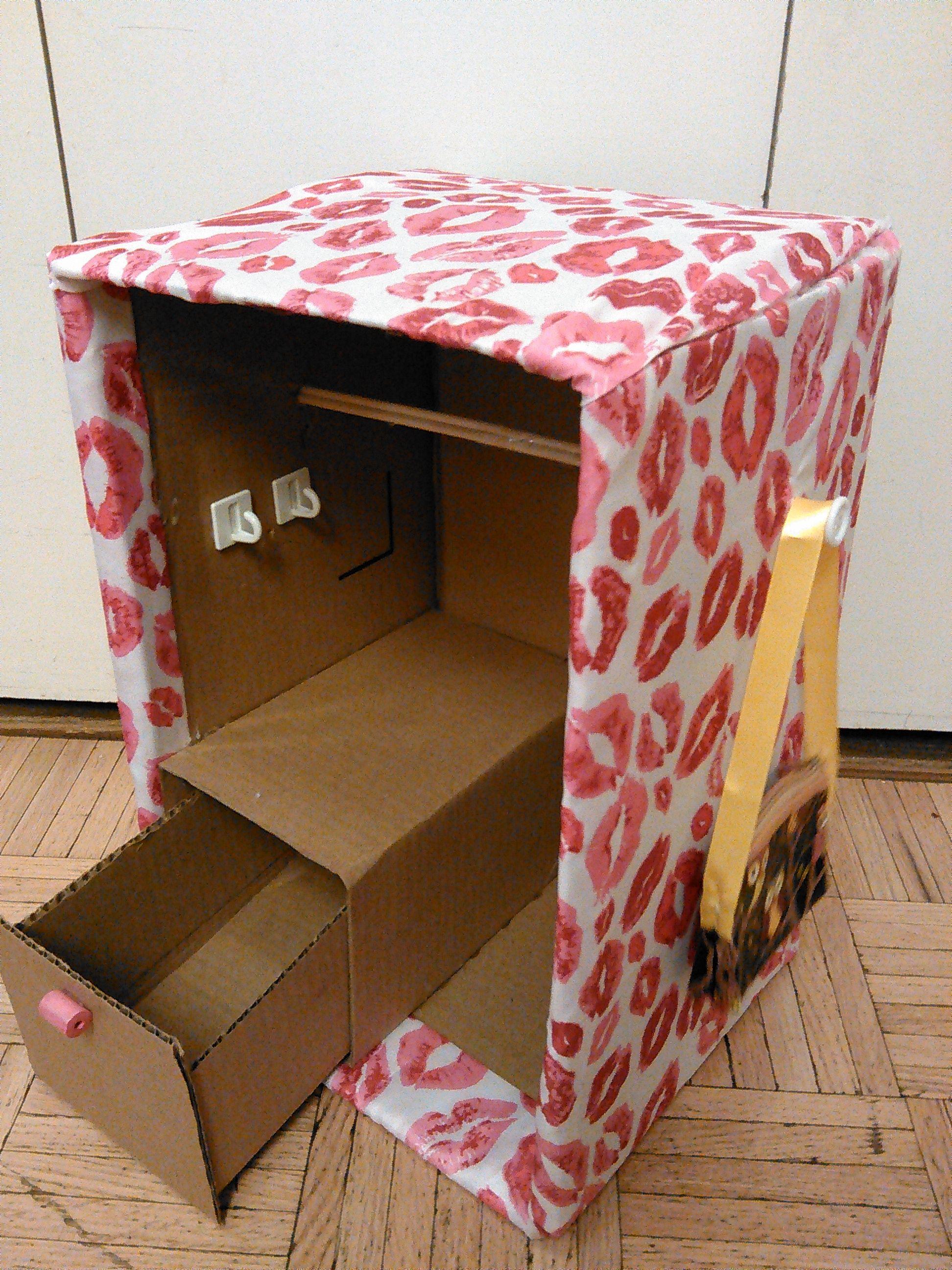 closet made out of cardboard box Diy doll closet, Baby