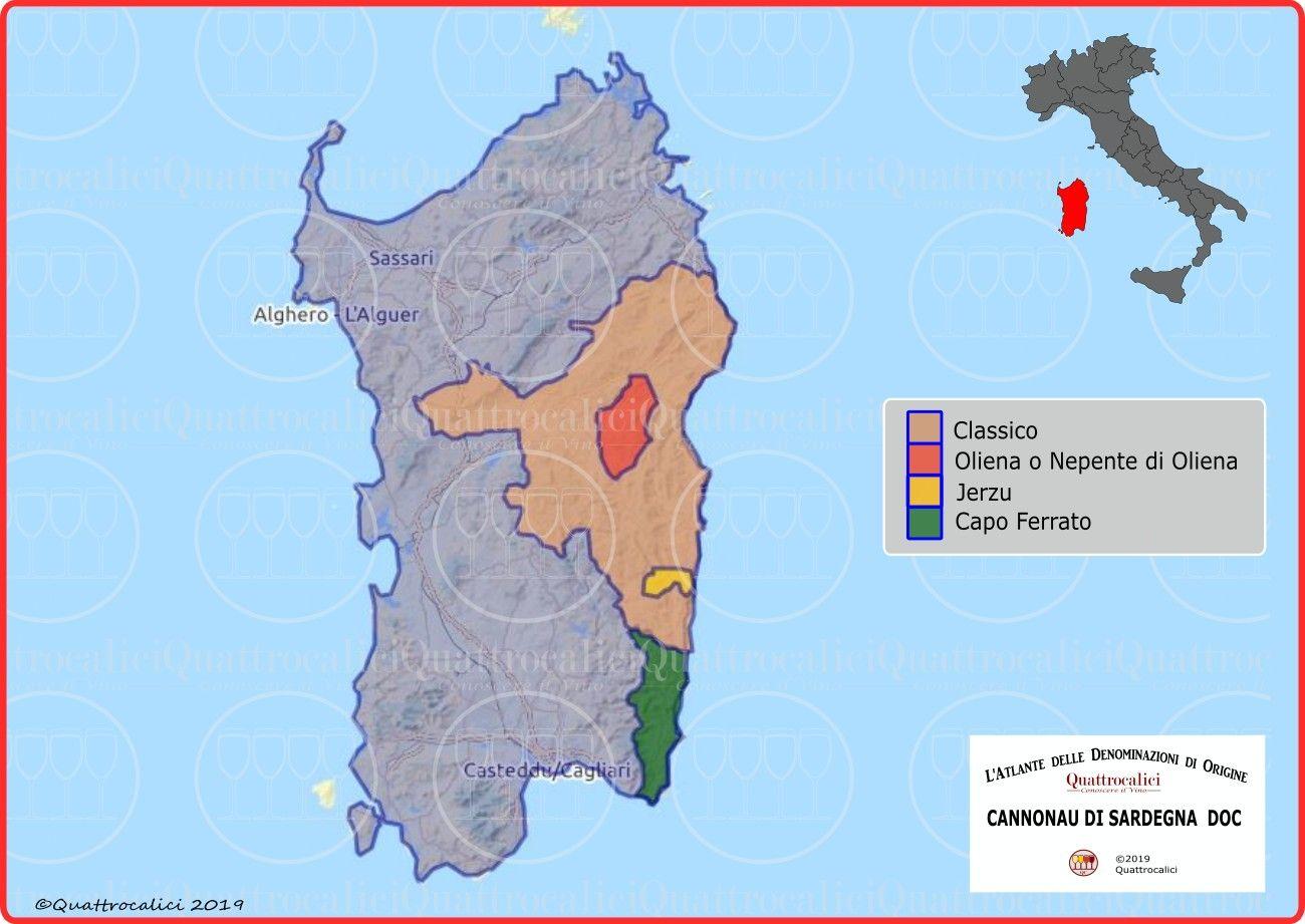 Mappa Sardegna 1954.Cannonau Di Sardegna Doc Quattrocalici Sardegna