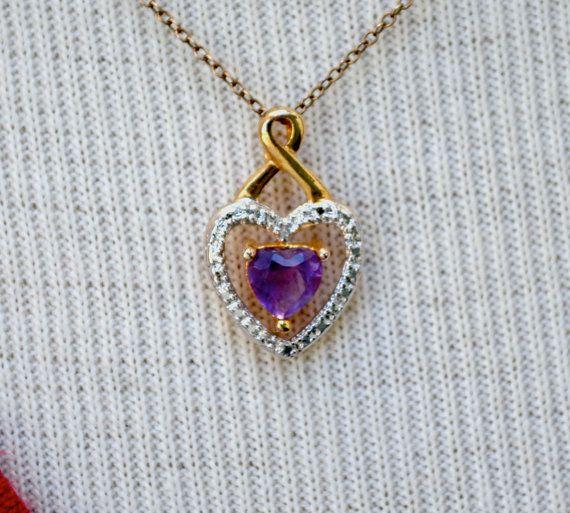 Vermeil Amethyst Heart Vintage Necklace by HighClassHighway