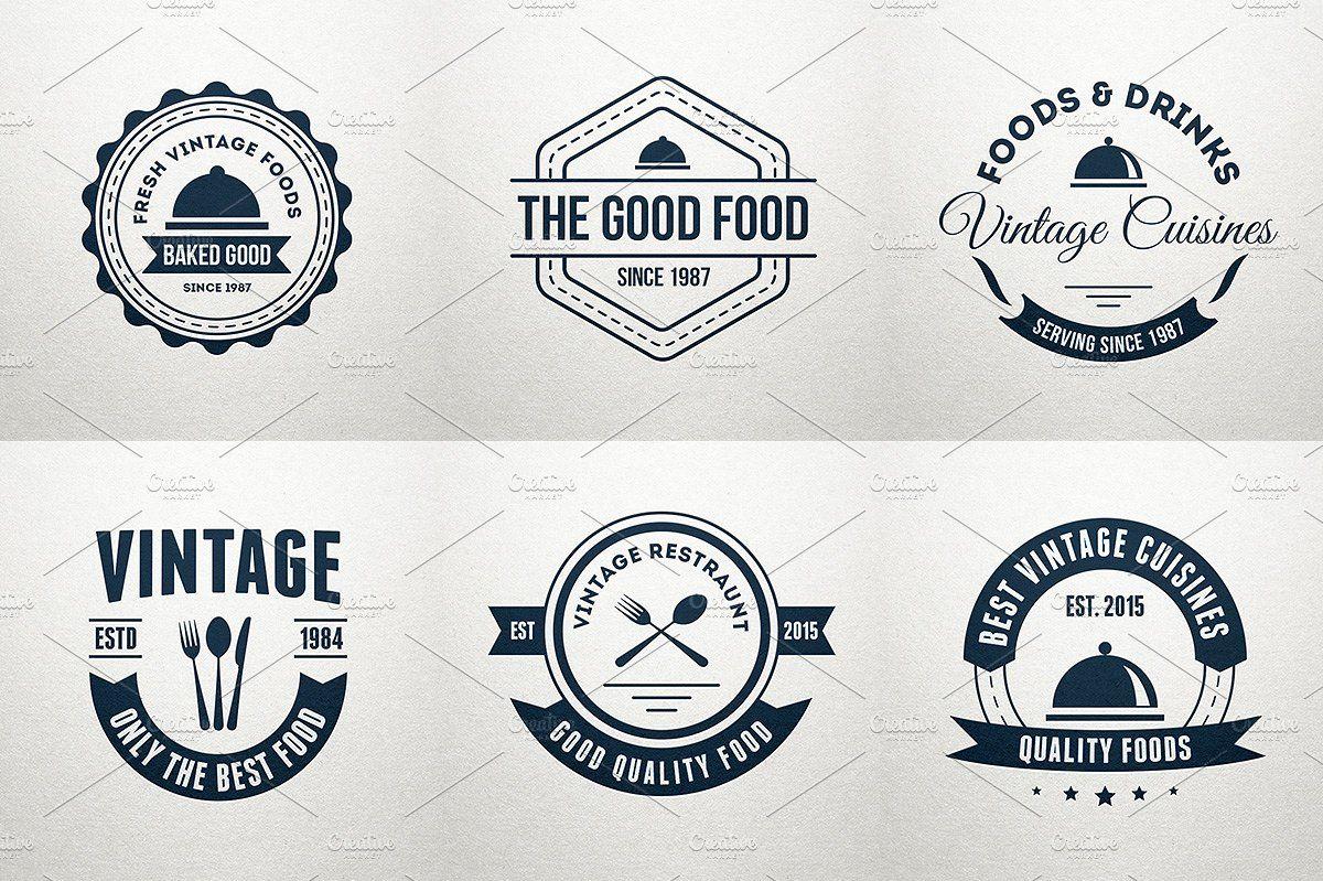 6 Food Logos Retro Badges Labels Label Templates Logo Food Retro Logos