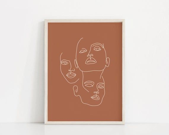 Female Faces Art Print | Woman Face Line Drawing | Face Line Art | Woman Wall Print | Face Illustrat