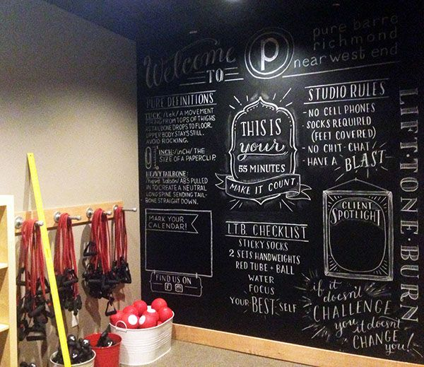 Chalkboard Lettering Wall For Pure Barre Studio.