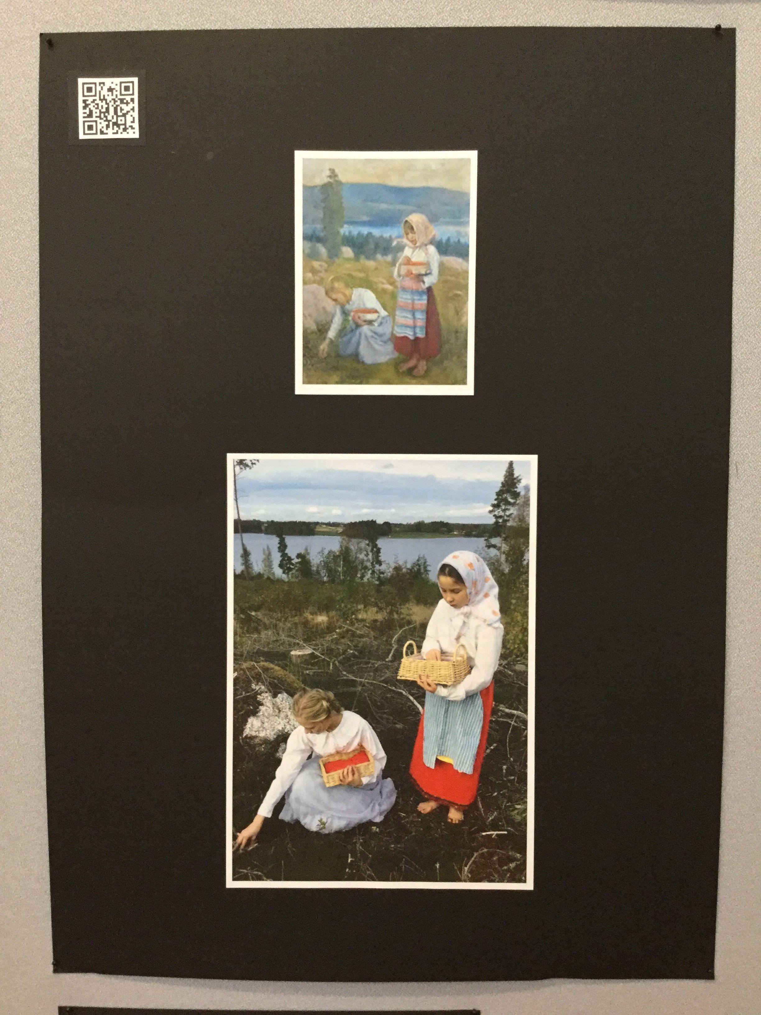 Kultakausi. 5lk toteutti valitsemansa maalauksen valokuvaamalla. Ryhmätyö.