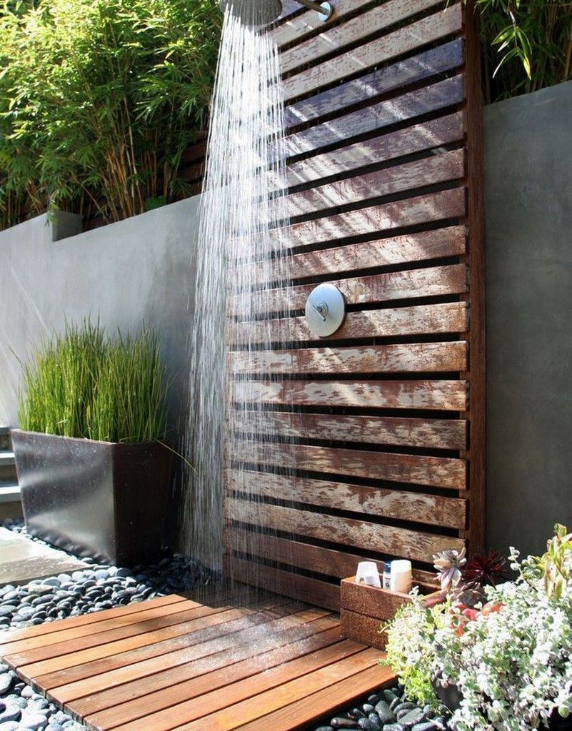 Nice Ideas For Outdoor Showers Part - 5: This Would Be Awesome If You Had A Pool. Then You Could Just Wash Your Hair  Outside. -A Pallet Made Outdoor Shower