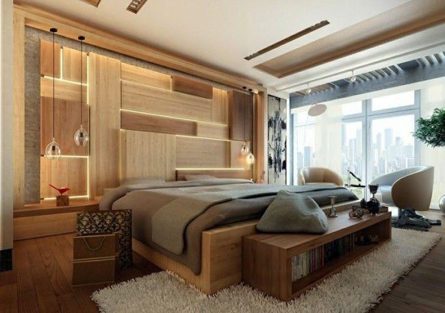 Schlafzimmer Gestalten ~ Im schlafzimmer akzente mit licht und holz gestalten