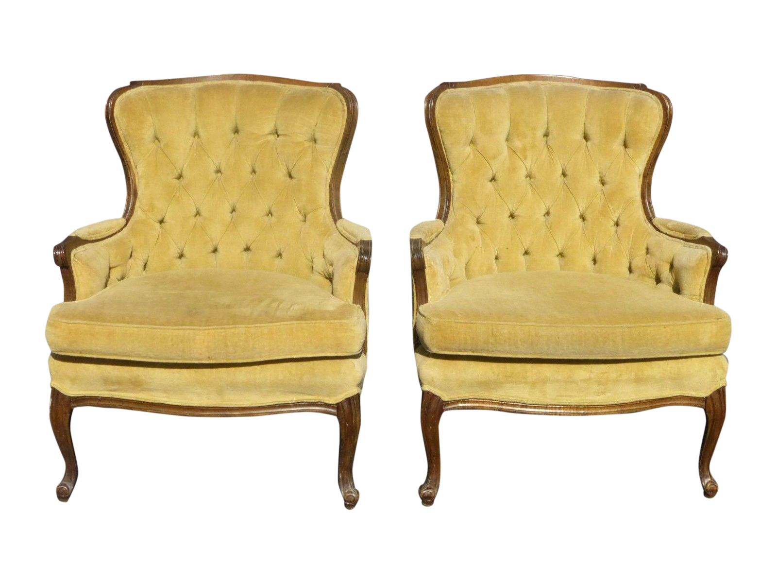 Vintage Sam Moore Yellow Tufted Chairs A Pair On Chairish Com