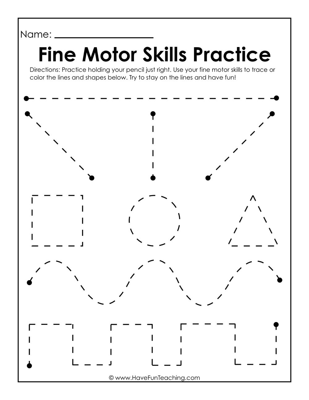 Worksheets Fine Motor Skills Worksheets fine motor skills practice worksheet worksheets and have fun teaching