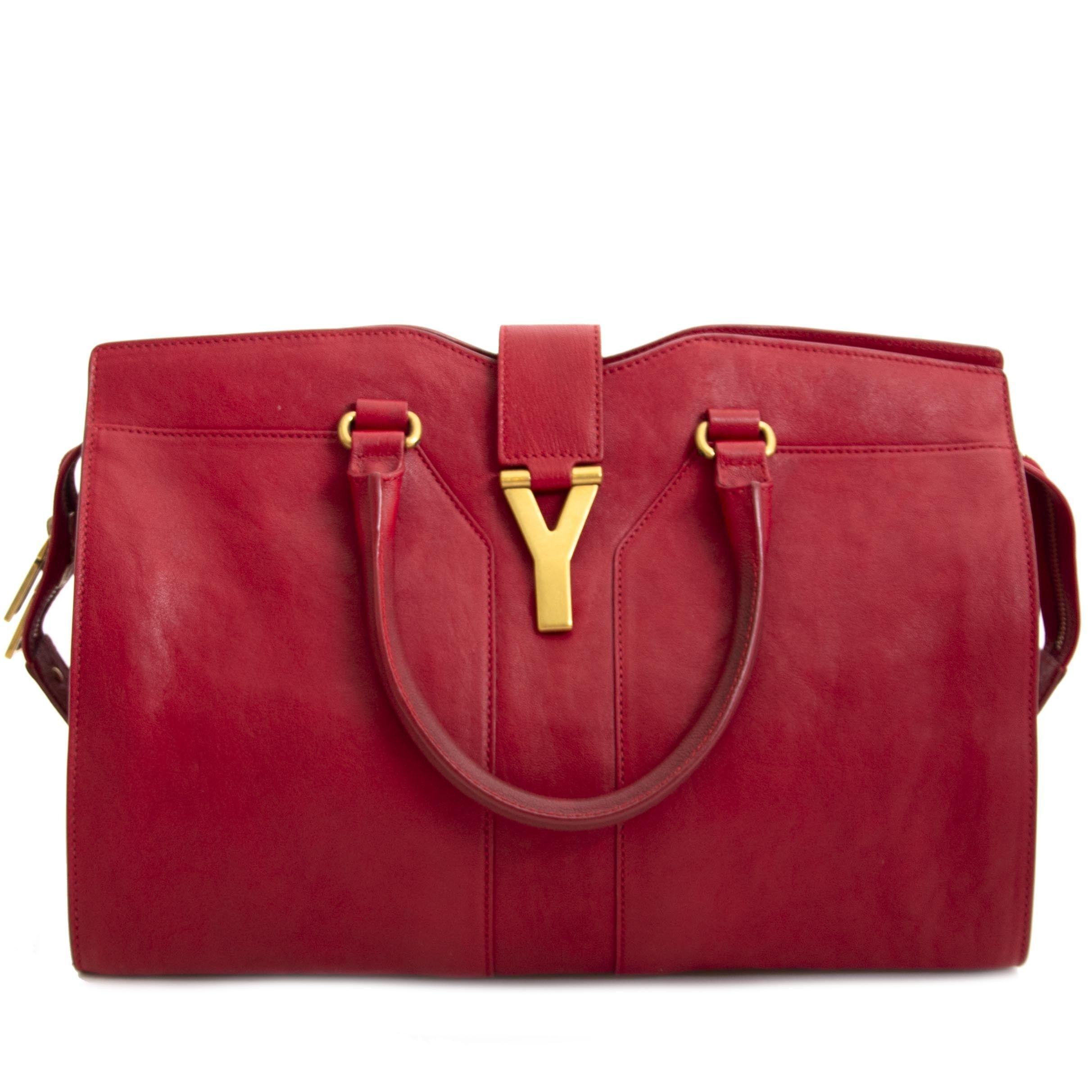2fc7864a0d63 Saint Laurent Red Leather Medium Cabas Chyc Tote Bag | Shop Labellov ...