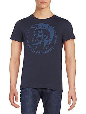 Men T Shirt Casual Navy Blue Short Sleeve Cotton Graphic Tee
