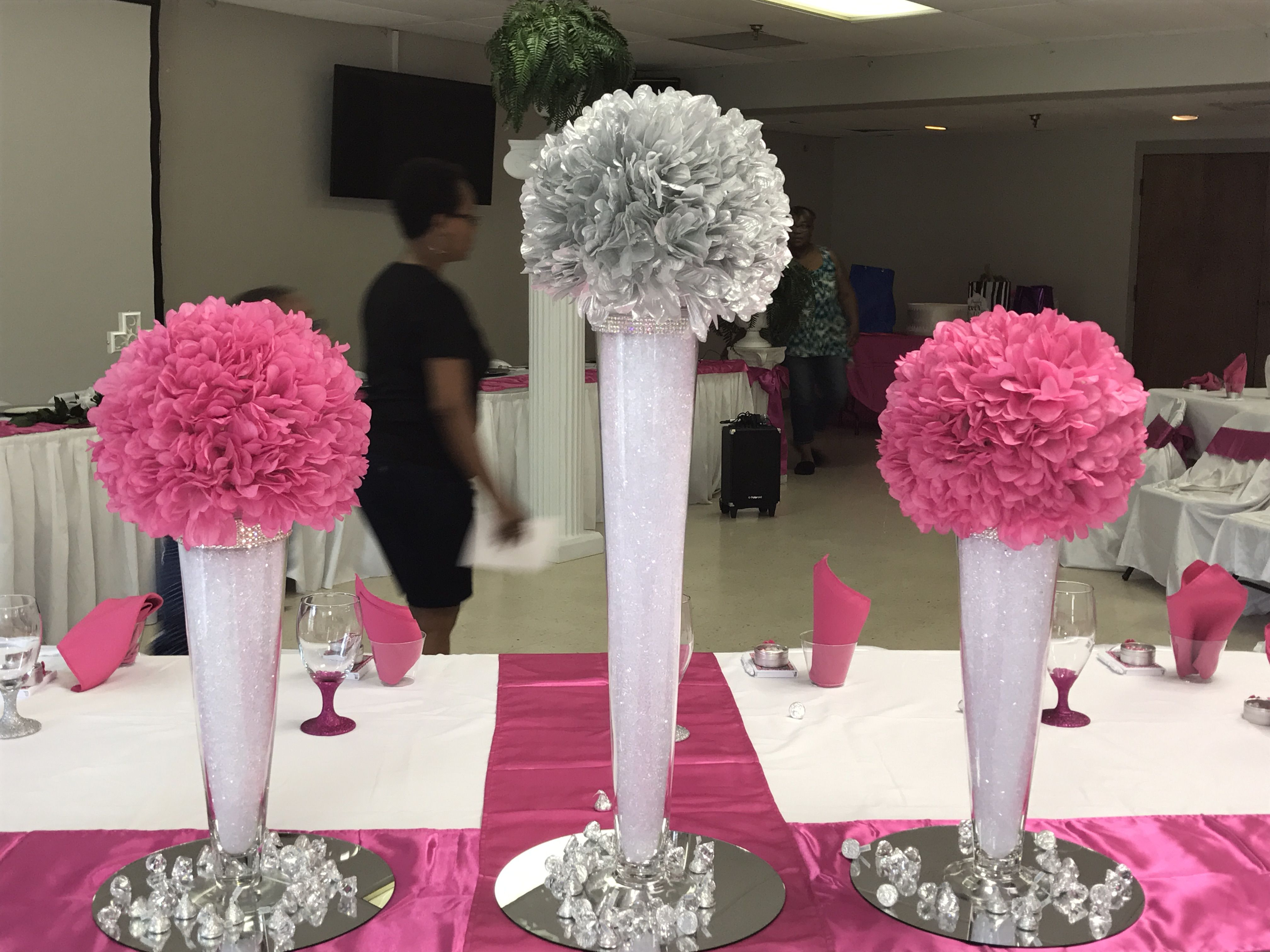 Hot Pink And Silver Centerpieces For Wedding Pink Wedding Decorations Pink Bridal Shower Centerpieces Pink Wedding Reception Decorations