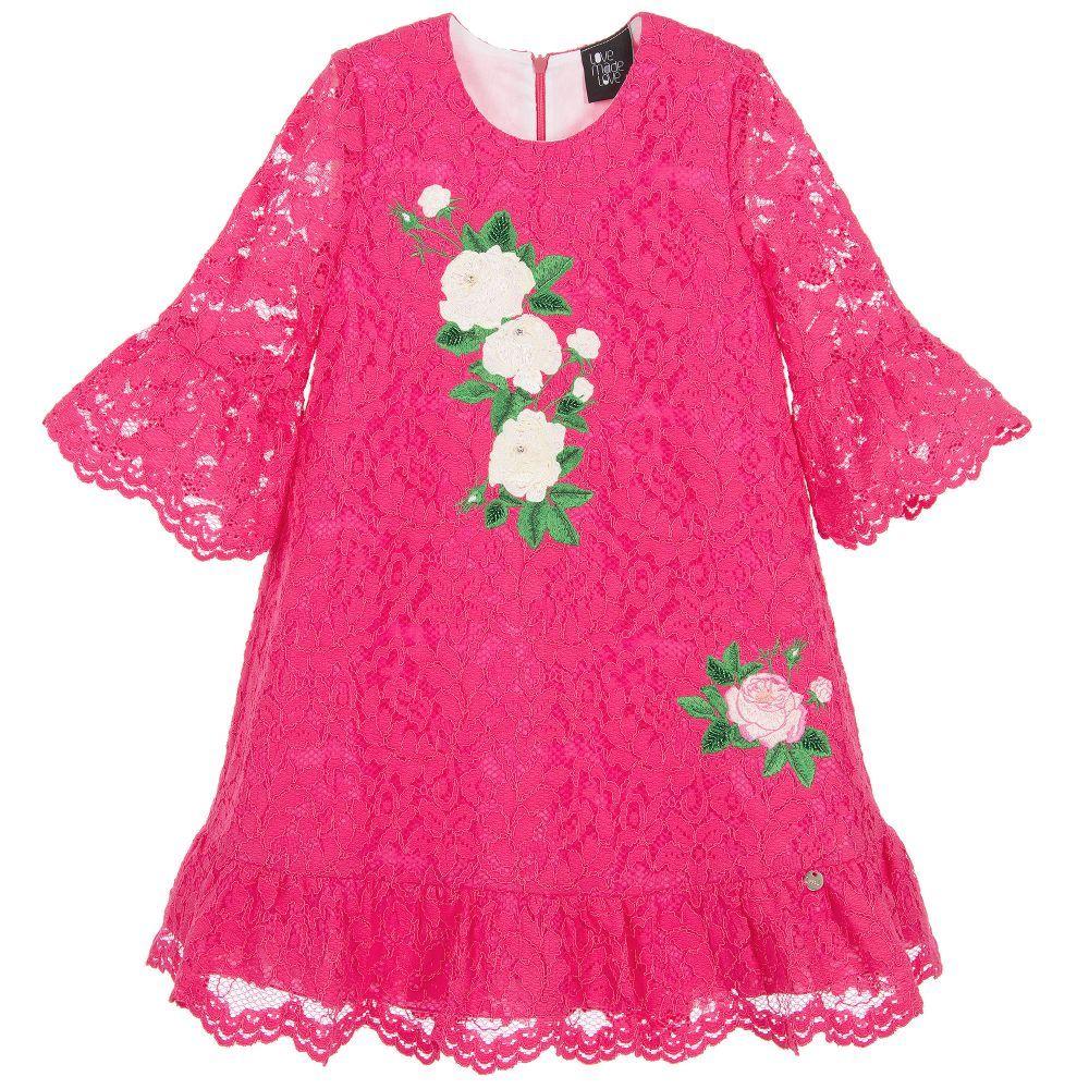 Girls fuchsia pink lace dress pink lace dresses and kids online