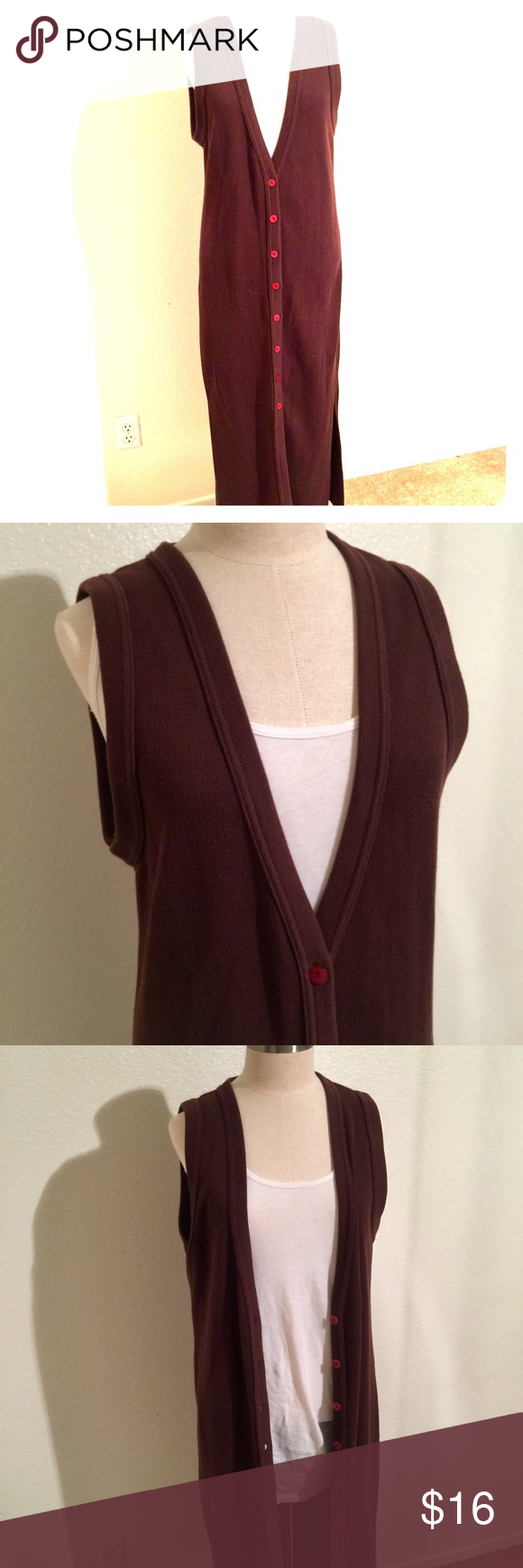 Express Long Cardigan Vest Size Small This chocolate brown vest ...