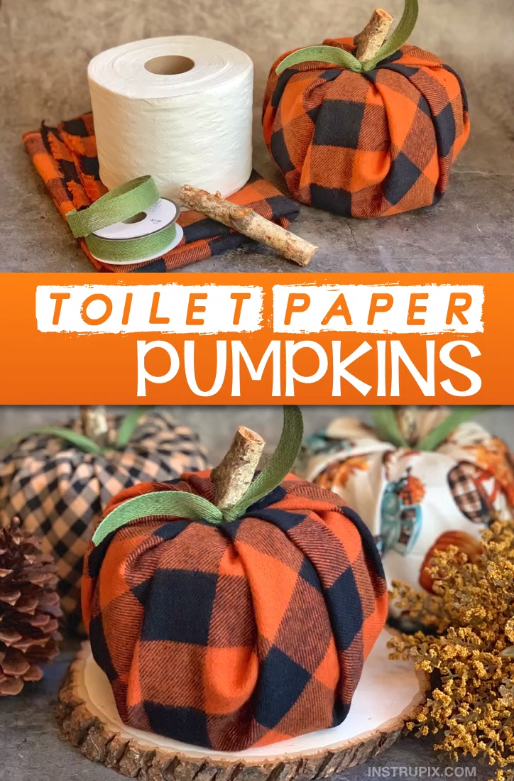 Easy Fall Craft Idea For The Home: Toilet Paper Pumpkins #thanksgivingdecorations