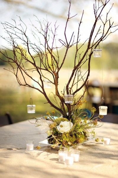 Branches And Hanging Votives Rustic Wedding Centerpiece Rustic Wedding Centerpieces Wedding Centerpieces Branch Centerpieces