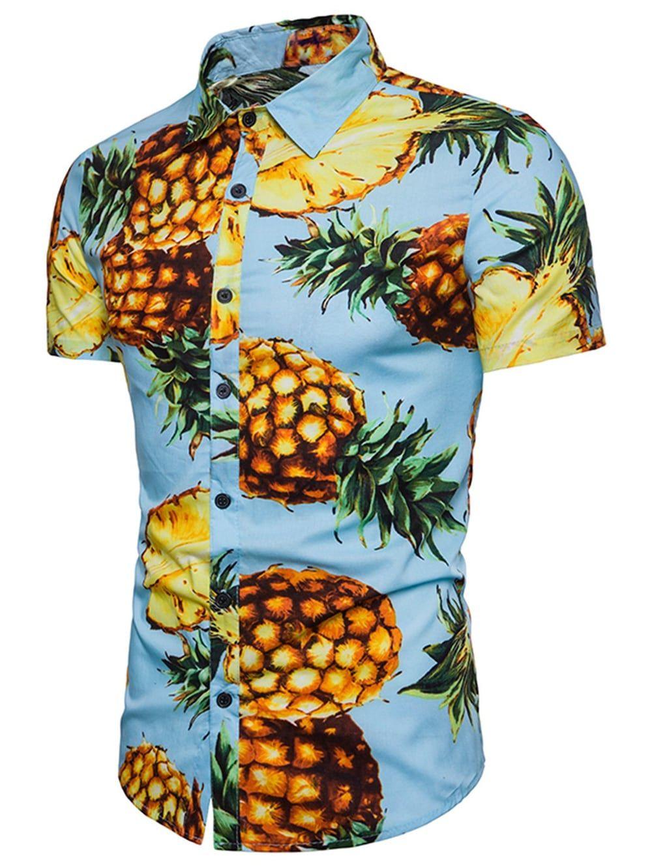 b54c85323b94cb Pineapple Printed Button Up Shirt - JEANS BLUE XL